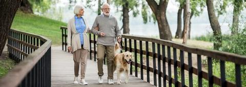 Residential park home in Ruthin, North Wales. The Woodlands retirement community. Old couple walking dog.